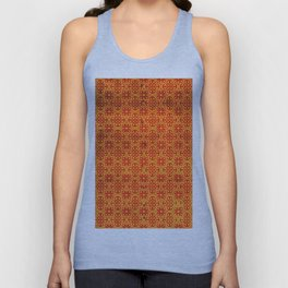 Orange Geometric Traditional Moroccan Pattern Artwork. Unisex Tank Top