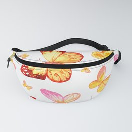 Butterflies In Pink And Yellow Sweet Scatter Pattern Fanny Pack