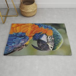 The Blue-Throated Macaw, A Realistic Pastel Artwork Rug