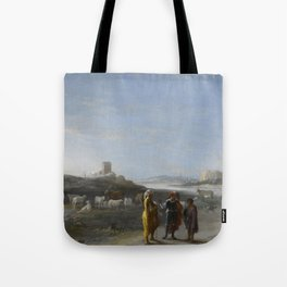 An Italianate Landscape with an unidentified subject from the Old Testament, Cornelis van Poelenburc Tote Bag