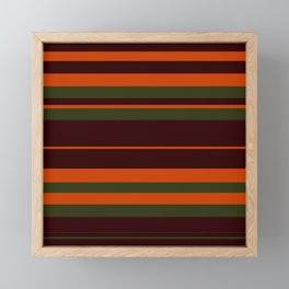 Pattern Bandes Colors Marron/Orange Framed Mini Art Print