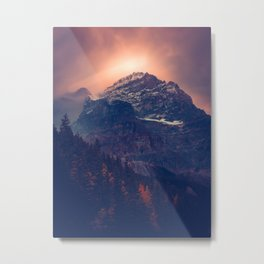 Beautiful Mountain Snow Capped landscape With Green Pine Trees Glowing pink Sunset Behind It Metal Print