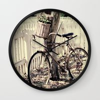bike Wall Clocks featuring bike  by Beverly LeFevre