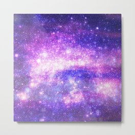Purple Pastel Stars Metal Print