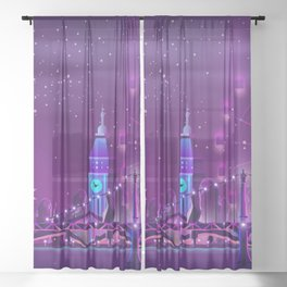 Synthwave Neon City #3 Sheer Curtain