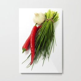 A bunch of fresh chives and vegetables over white Metal Print