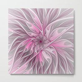 Abstract Pink Floral Dream Metal Print