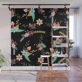 Floral pattern black Wall Mural