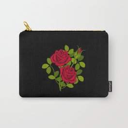 Painted Red Roses Carry-All Pouch