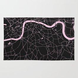 London Black on Pink Street Map Rug