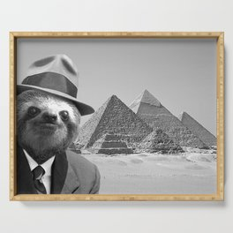 Sloth in Egypt in front of the pyramids Serving Tray