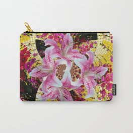 ABSTRACTED FUCHSIA-PINK LILY & HOLLYHOCKS GARDEN Carry-All Pouch