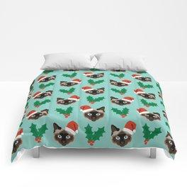 Siamese Cat cute christmas gift santa hat pattern mistletoe and holly wreath cats cute kitten gift  Comforters