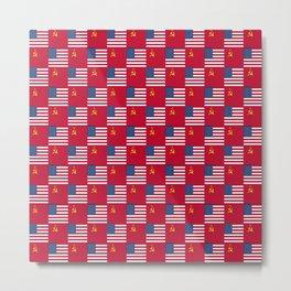 Mix of flag:  Usa and USSR Metal Print