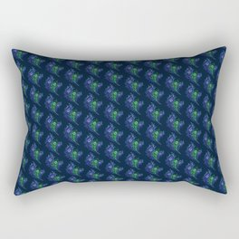 Lovely Peacock Feathers Pattern On Blue Rectangular Pillow