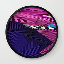 Striped landscap with stylised mountains, sea and light blue Sun. Wall Clock