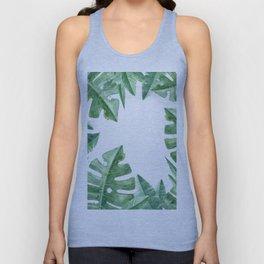 Tropical Green Monstera Watercolor Unisex Tank Top