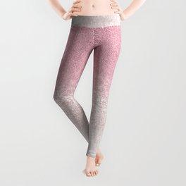 Trendy girly pink gradient elegant glitter Leggings