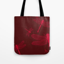 Five Red Dragonflies Tote Bag