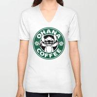 ohana V-neck T-shirts featuring Ohana Coffee by Ellador