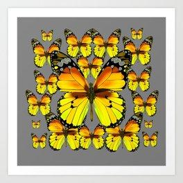 CLUSTER YELLOW-BROWN  BUTTERFLIES GREY  DESIGN Art Print