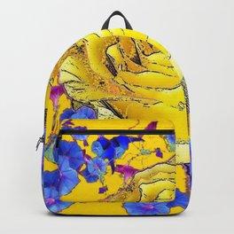 GOLDEN YELLOW ART & YELLOW ROSE BLUE MORNING GLORY FLOWERS Backpack
