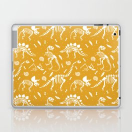 Dinosaur Fossils on Mustard Yellow Laptop & iPad Skin