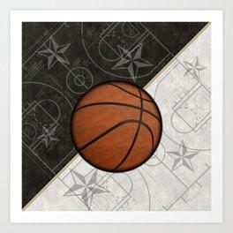 Basketball Stars and Court Team Sports Design Art Print