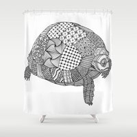 tortoise Shower Curtains featuring Tangled Tortoise by Cherry Creative Designs