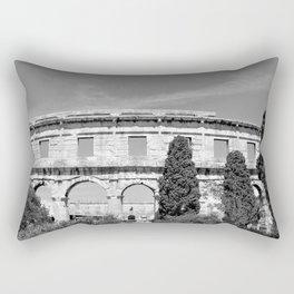 arena amphitheatre pula croatia ancient black white Rectangular Pillow