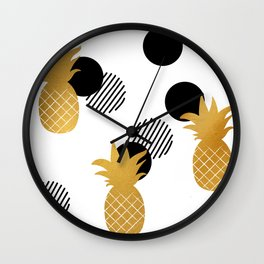 Gold Pineapple abstract Wall Clock