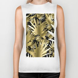 Modern color gold black tropical abstract leaves Biker Tank