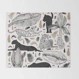 Wild Cats and Botanicals Throw Blanket