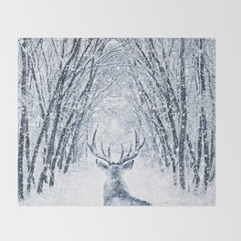 Winter deer Throw Blanket