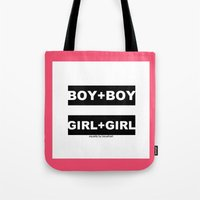 equality Tote Bags featuring equality by bisualhart