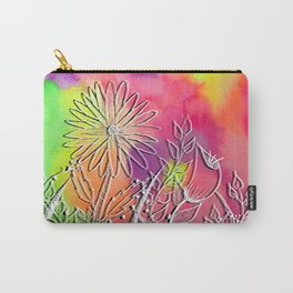 Neon Wildflowers Watercolor and Digital Botanical Line Drawing Art Carry-All Pouch
