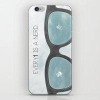 nerd iPhone & iPod Skins featuring nerd by Nivi