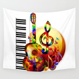Colorful  music instruments painting, guitar, treble clef, piano, musical notes, flying birds Wall Tapestry