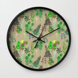 Green leaves pattern Wall Clock