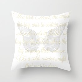 The First Noel angel wings Throw Pillow