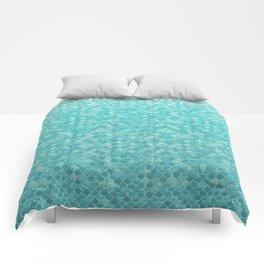 Teal Mermaid Scales Comforters