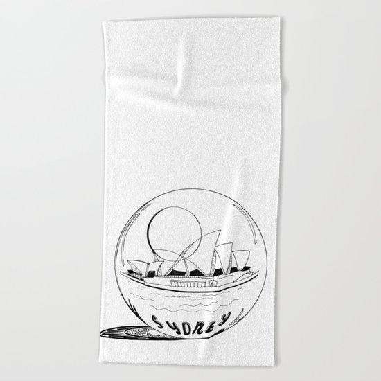 Sydney in a glass globe Beach Towel