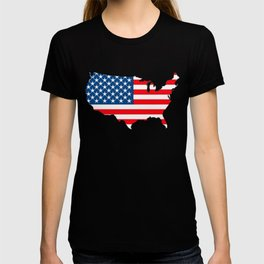 United States Map with American Flag T-shirt