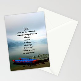 Serenity Prayer With Phewa Lake Panoramic View Stationery Cards