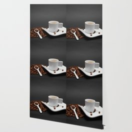 Cup of coffee and coffee beans on black background Wallpaper