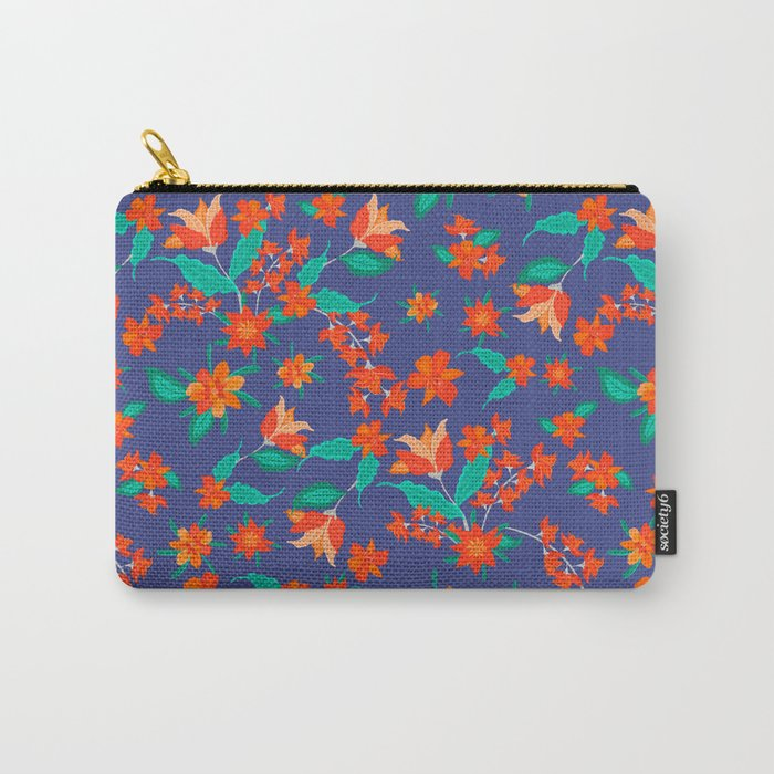 Tangerine floral Carry-All Pouch