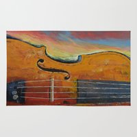 violin Area & Throw Rugs featuring Violin by Michael Creese