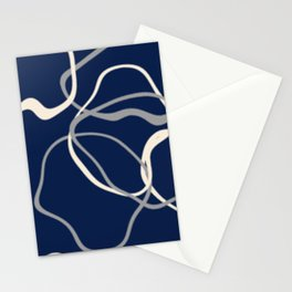 lignes bleues courbes Stationery Cards