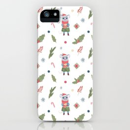 Christmas pattern with cute rat (mouse) and winter elements iPhone Case