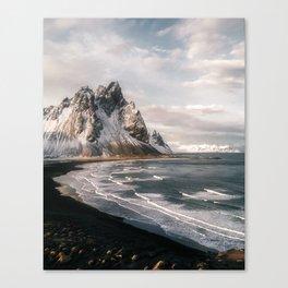 Stokksnes Icelandic Mountain Beach Sunset - Landscape Photography Canvas Print
